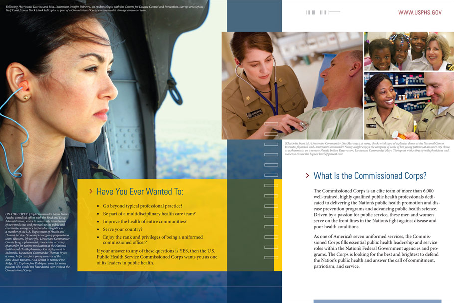 Commissioned Corps brochure sample spread
